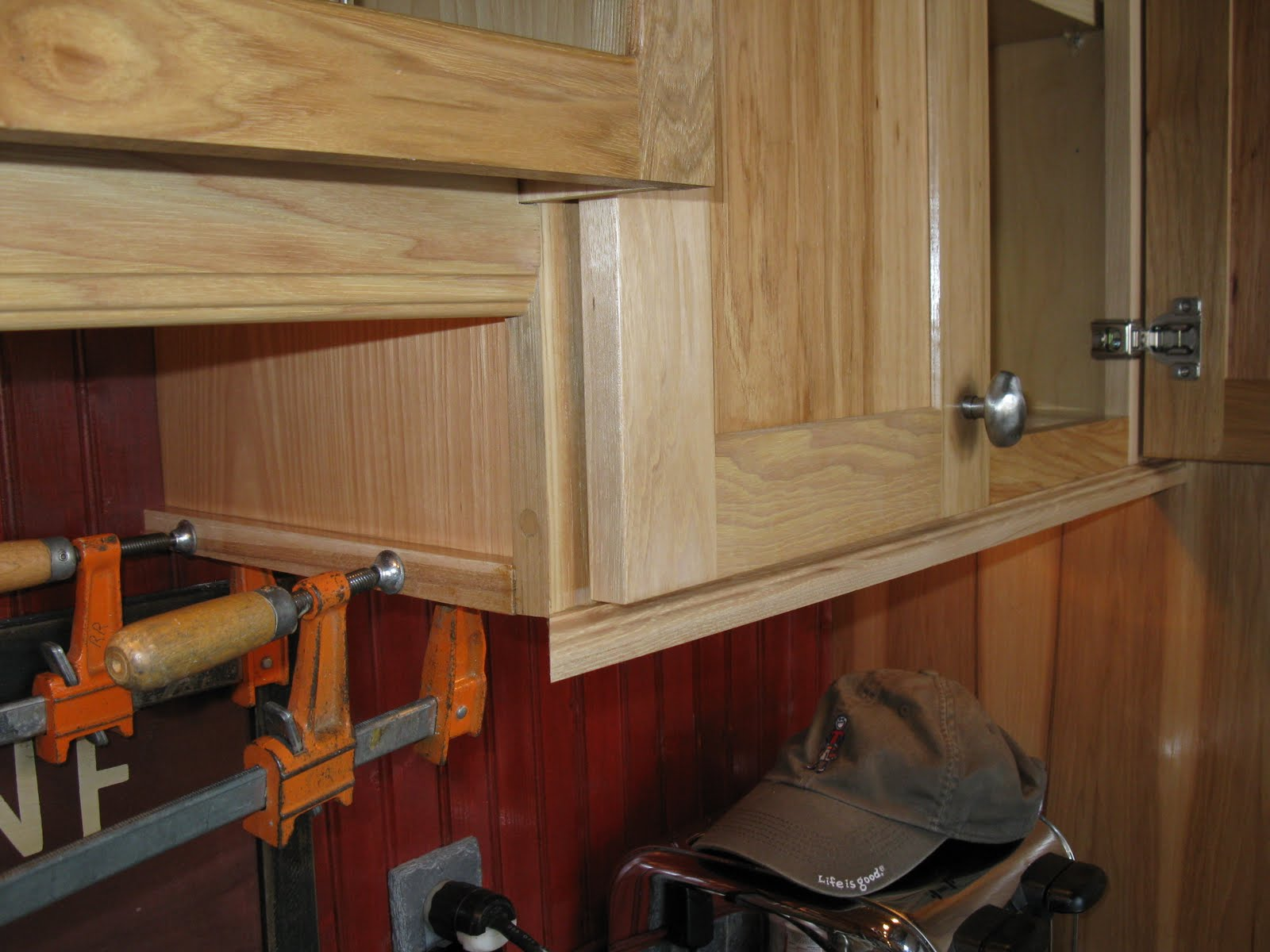 Under cabinet light rail molding -  Light Rail Molding Clamping Miters Can Be Tough I Wanted To Avoid Nailing This Miter Since It S Very Visible And At Eye Level Kitchen Cabinets And