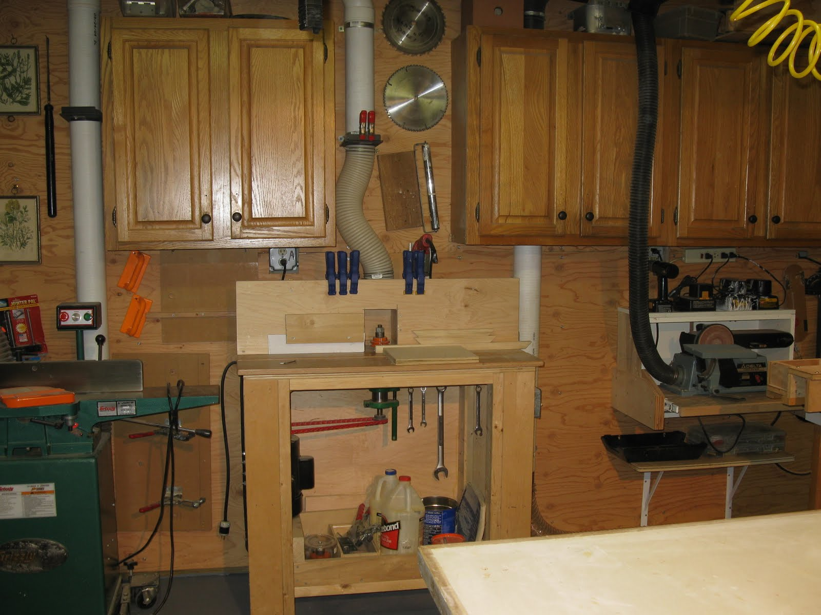 This Allows Me A Small Amount Of Wall Space To Hang Items My Table Saw And Shaper Which Is Directly Below It