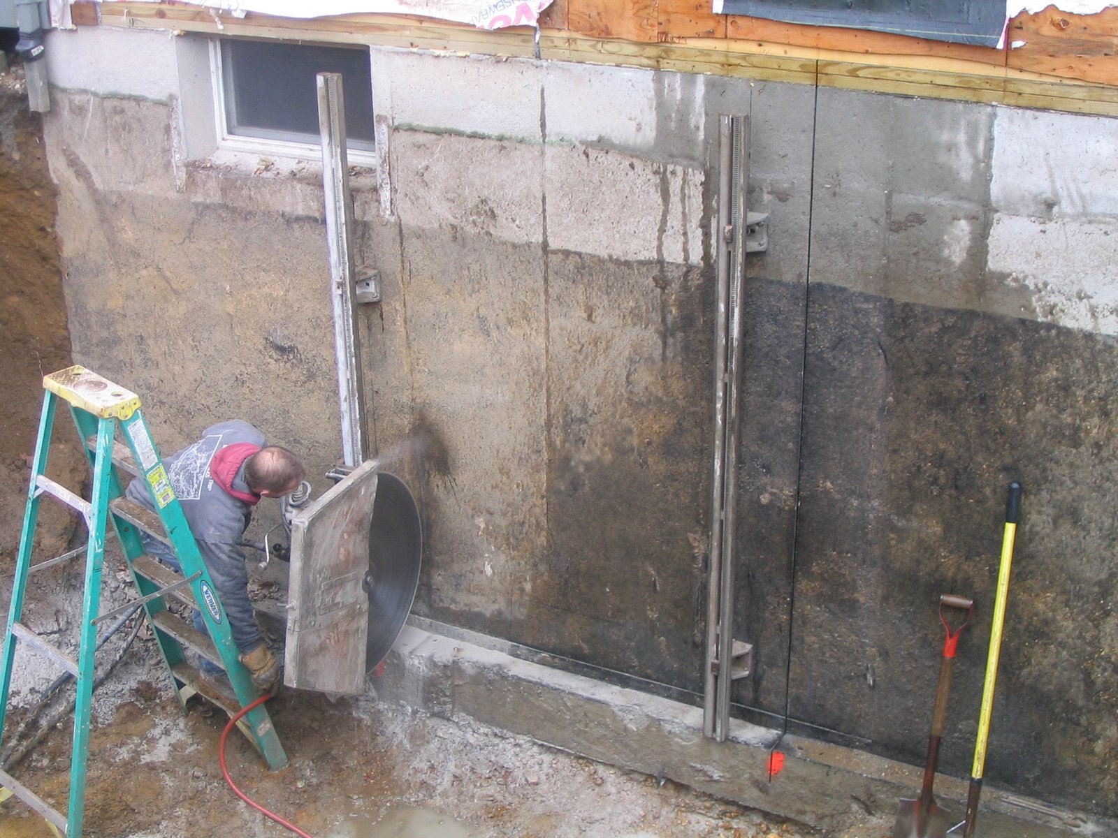 Cutting a door in concrete foundation