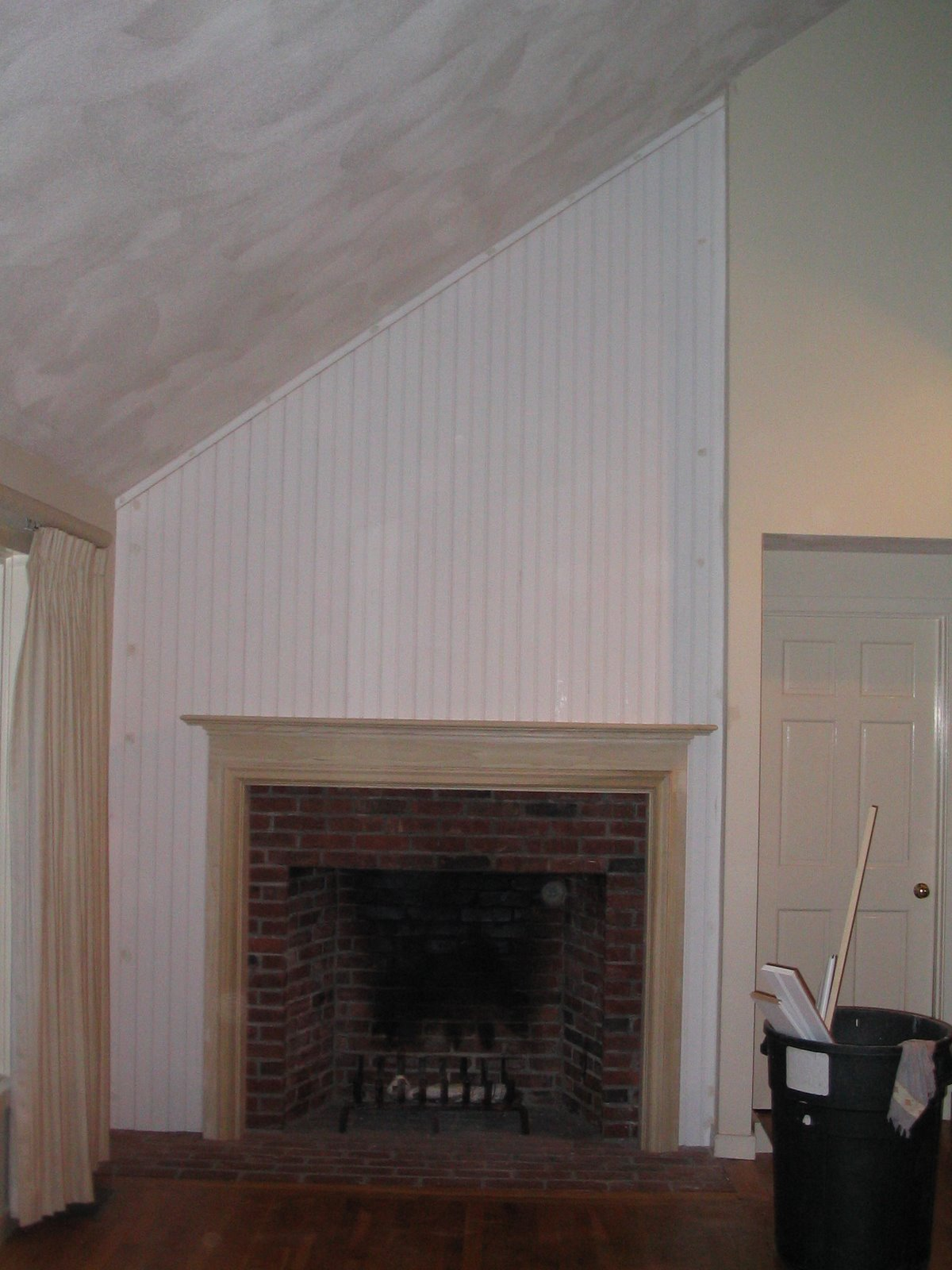 Apply Bead Board And Mantle To A Brick Fireplace A